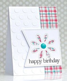 handmade birthday card ... crisp white with pastel plaid paper . embossing folder texture big dots ... negative space daisy cut ...