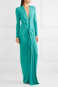 Teal stretch-crepe Zip fastening through front 65% viscose, 35% polyester Specialist clean Designer color: Aqua