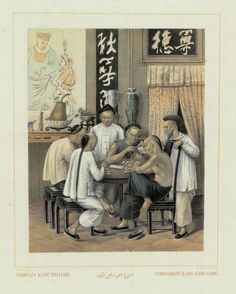 Chinesen Kaart Speelende, / Chinois Jouant Le Koa Cong Cong. A rare and much sought after coloured lithograph print by Auguste van Pers (1815-71), from original drawings by the French artist, Ernest Hardouin and published...