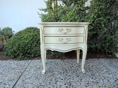 FRENCH PROVINCIAL Shabby Chic 2 Drawer Nightstand by HouseCandyLA #Losangeles #furniture #vintage #Venice #midcentury #freedelivery #retro