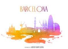 e5a2194ee3a8cd8be60249058d85f356-barcelona-watercolor-building-silhouette.jpg (1650×1176)