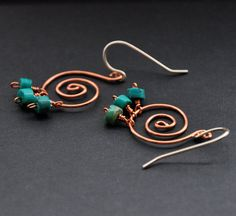 Turquoise+Spiral+Earrings+Silver+Rustic+Copper+by+GueGueCreations,+$26.00