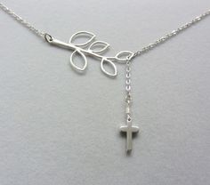 Cross Lariat Silver necklace