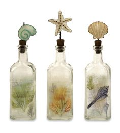 Glass Decorative Bottles Set Of Three Glass Bottles With Decorative Shell Stoppersproduct