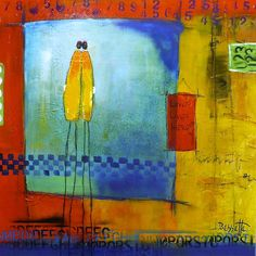 """""""Love Lives Here"""" by Jeanne Bessette, Acrylic and mixed media on canvas, 24"""" x 24"""""""