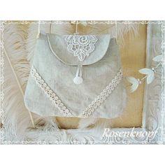 Romantische Tasche im angesagten Shabby Stil, aus kostbarem, handgewebtem Leinen aus dem19ten Jahrhundert ♥