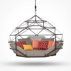 The Kodama Zome is the next evolution of the hammock.  These geodesic dome-inspired structures hang from a single overhead anchor, allowing for smooth and unrestricted pendulum motion in any direction.