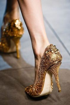 Gold Wedding Shoes would be great for a Beauty and the Beast themed wedding