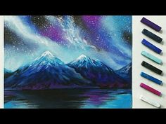 How to draw a night winterscape with pastels, speed drawing by Thundy - YouTube