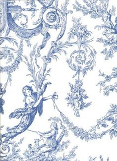 French Country Blue Toile Wallpaper