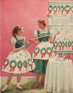 mother/daughter Christmas aprons with curtains to match! My daughter and I NEED this ensemble! Ghost Of Christmas Past, Vintage Christmas Cards, Christmas Love, Retro Christmas, Christmas Images, Vintage Holiday, Vintage Cards, Christmas Holidays, Christmas Aprons