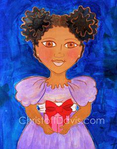 4.25 x 5.5 Notes,  African American Art, Afro Hairstyle Art, Natural Hair Art, Black Girl Art, Kids Art Print, Chanel Christoff Davis