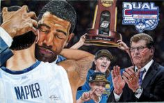 "By Mike Carberry, UConn Huskies Win, both the girls and the guys. Quote from Mike...""Here is a Photo of my latest piece. A work of fan art in honor of the National Championship Men's and Women's Uconn Basketball programs, and the Coaches that made it happen. Kevin Ollie and Geno Auriemma. The picture doesn't do it justice I'm afraid.. Pastel on Canson paper 18.5"" x 11.75""... You can find him on facebook to help you with a portrait you would like to have him make for you...both people and…"