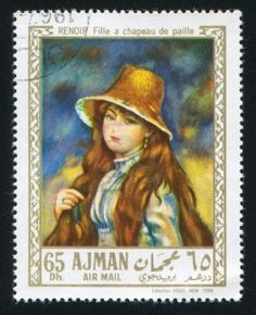 AJMAN - CIRCA 1976: stamp printed by Ajman, shows Girl in a Straw Hat by Renoir, circa 1976 Stock Photo