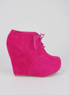 lace-up bootie wedge $27.50 in BLACK BLUE CAMEL CORAL FUCH ORANGE PLUM RED TAUPE - New Shoes | GoJane.com - StyleSays