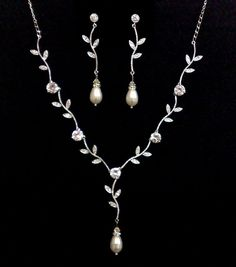 Bridal Swarovski Necklace and Earrings, Garden Wedding Accessories, VINE PEARL SET. $69.00, via Etsy.