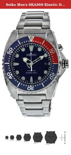 Seiko Men's SKA369 Kinetic Diver's Blue Dial, Red & Blue Bezel 200m Watch. Introducing a Magnificent Collection the Seiko Kinetic Divers. Solid brushed and polished stainless steel case(43mm diameter by 14mm thick) bracelet. Blue dial with luminous silver toned hands and hour markers. Rotating bezel with red and blue and date display features. Advanced precisely tuned Japanese Kinetic movement with an automatic power generator. Power reserve indicator with a capacitor that can power the...