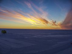 Sun 'kissing' the horizon for the first time this year at Halley