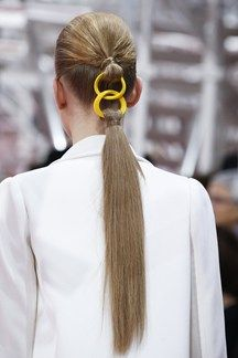 Christian Dior SS15 Couture - the interesting looped ponytails shown on the runway...x