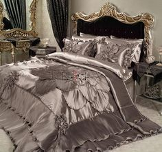 If You Read Nothing Else Today, Read This Report on Silver Golden Satin Duvet Cover Luxury Bedding - flipsyourhome Master Bedroom Closet, Master Room, Satin Bedding, Luxury Bedding, Bed Crown Canopy, Bed Cover Design, Guest Bedroom Decor, Luxurious Bedrooms, Home Decor Furniture