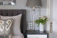 Nightingale Design: Stunning gray bedroom with gray walls framing dark gray tufted headboard and Kravet . Gray Bedroom Walls, Home Bedroom, Bedroom Decor, Bedroom Ideas, Gray Walls, Master Bedroom, Peaceful Bedroom, Bedroom Lighting, Bedroom Designs