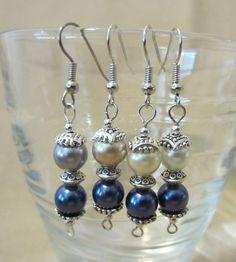 Double Pearl & Silver Dangle Earrings by Pizzelwaddels on Etsy, $6.97
