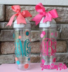 MONOGRAMMED TERVIS WATERBOTTLE by GameDayGirlsandGifts on Etsy, $27.00