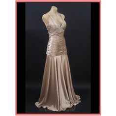 Art Deco Evening Gowns 1920's | 30s Deco Style Gown-Champagne Satin Vintage Inspired Prom Evening ...