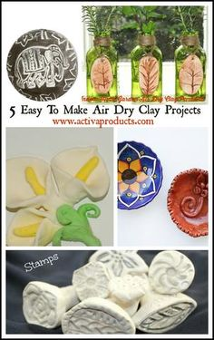 5 super easy air dry clay projects for adults or anyone to do using various types of air drying clay!