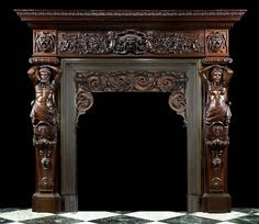 Antique Italian renaissance fireplace mantel carved oak.