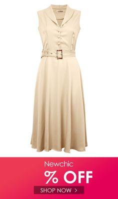 Yellow Sundress | OL Button Belt Sleeveless Lapel Swing Sundress Party Dress Sundress Outfit, Yellow Sundress, Sexy Dresses, Summer Dresses, Ol, Party Dress, Button, Outfits, Fashion
