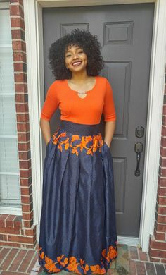 Welcome! A million thanks for stopping by OLUDAN. We are here to serve you.  Colorful 100% African print Ankara blue and orange Angeline Maxi skirt with a 3 inches high waist, a great length and gathers all around. 100% cotton. This beautiful skirt has a length of 46 inches, pockets, a zipper at the back and a waistband for a great fit. Dashiki skirt must be worn on your natural waist (under your bust)  Available in the sizes below. Use your precise waist in inches against these measurements…