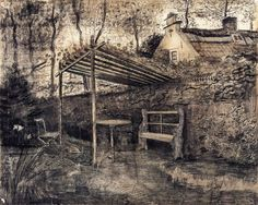The Garden of the Parsonage with Arbor by Vincent van Gogh | via wikipaintings.org/en/vincent-van-gogh/