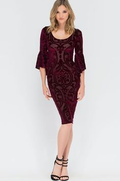 Rochie catifea si voal cu broderie din dantela bordo Bell Sleeve Dress, Bell Sleeves, Cold Shoulder Dress, Dresses With Sleeves, Velvet, Formal Dresses, Wine, Fashion, Embroidery