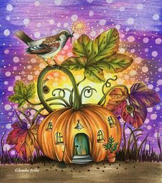 with 📕Botanicum de Maria Trolle.🖍Faber Castell polychromos, prismacolor premier, stabilo sakura gelly roll, tombow dual brush pen y posca 🍂🍁🐦🎃. Adult Coloring, Coloring Books, Coloring Pages, Drawing Images For Kids, Cute Animal Illustration, Poster Drawing, Colored Pencil Techniques, Garden Painting, Spring Art