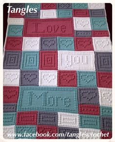 "Crochet Pattern * ""Love You More"" Wordghan * Blanket"