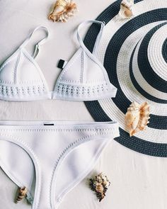 white bikini - white beach outfit - white swimsuit - white bathing suit - swimsuits for moms - beach look - vacation look - resort wear Haut Bikini, The Bikini, Pink Bikini, Cute Swimsuits, Cute Bikinis, Summer Suits, Summer Wear, Lingerie, Bikini Triangle