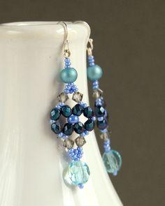 Turquoise and Purple Czech Glass Beaded Earrings by DedanyaDesign, $35.00