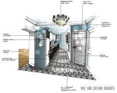 Croquis à la main-Architecture intérieure-Dominique JEAN pour EDECO Rénovation- carreaux de ciment noir et blanc- murs bleus- appartement haussmannien.