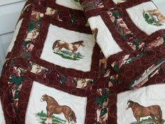 QUILTED HORSE THROW Blanket Quilt measuring 45 x by TessieTextile