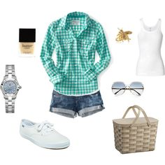 A fashion look from January 2012 featuring blue long sleeve shirt, white tank and short jean shorts. Browse and shop related looks. Zuhair Murad, Outfit Sets, My Outfit, Lunch Outfit, Marchesa, Elie Saab, Cute Summer Outfits, Cute Outfits, Lilly Pulitzer