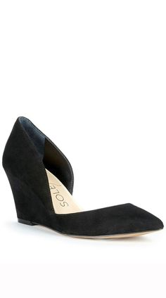 This versatile black suede wedge would be a great addition to your office wardrobe!