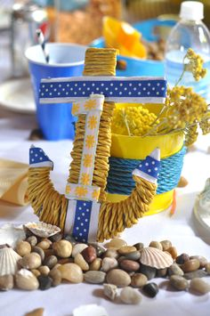 Table decoration from Sullivan's Nautical theme first birthday party!