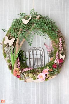 Door wreaths - door wreath summer Hollywood swing 2 - a designer piece by Rotk . - Door Wreaths – Door Wreath Summer Hollywood Swing 2 – a unique product by Rotkopf-design on DaW - Spring Front Door Wreaths, Diy Spring Wreath, Wreath Crafts, Diy Wreath, Wreath Ideas, Easter Wreaths, Holiday Wreaths, Greenery Wreath, Floral Wreath
