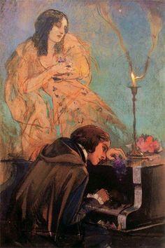 """""""Retrato de Frédéric Chopin y George Sand"""", 1838, Eugène Delacroix #Magarte #Historiadelarte #romanticismo #eugenedelacroix 209/365"""