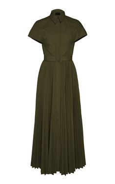 Brandon Maxwell Pleated Poplin 'Olive' Shirt Dress-Meghan Markle - Dress Like A Duchess Glamour, Dress Skirt, Dress Up, Midi Shirt Dress, Olive Shirt, Minimal Dress, Dresses Australia, Tulle Gown, Royal Fashion