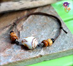 Shell Jewelry from Hawaii, Hawaiian seashell anklet by Mermaid Tears, mens leather bracelet