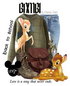 """""""Bambi"""" by disney-teen ❤ liked on Polyvore featuring AmeriLeather, Steve Madden, Pieces, BackToSchool, disney, disneybound, bambi and disneyfashion"""
