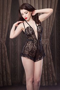 Betty Blue Black Lace Nell Teddy £120.00 - Lingerie - Teddy Designer & luxury lingerie | Lingerie |Underwear |Loungewear & Sleepwear