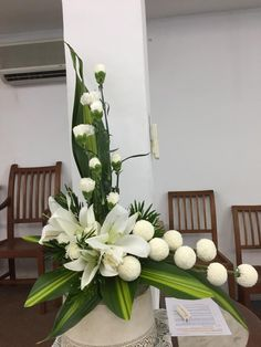 Use curly and dendro orchids for height. Ranunculus instead of poms. Add bear grass. Easter Flower Arrangements, Tropical Floral Arrangements, Flower Arrangement Designs, Creative Flower Arrangements, Ikebana Flower Arrangement, Funeral Flower Arrangements, Beautiful Flower Arrangements, Beautiful Flowers, Altar Flowers